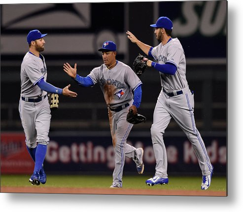 People Metal Print featuring the photograph Kevin Pillar, Chris Colabello, and Ezequiel Carrera by Hannah Foslien