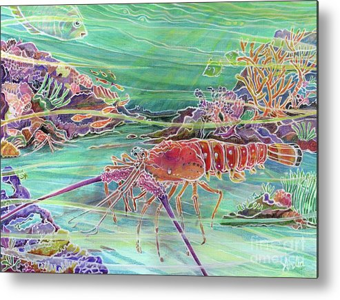 Underwater Metal Print featuring the painting Lobster Crossing by Amelia at Ameliaworks