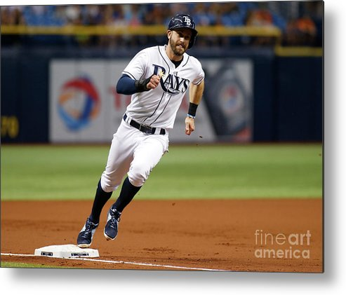 People Metal Print featuring the photograph Logan Morrison and Evan Longoria by Brian Blanco