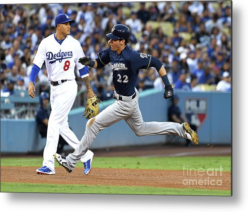 People Metal Print featuring the photograph Manny Machado, Christian Yelich, and Lorenzo Cain by Jayne Kamin-oncea