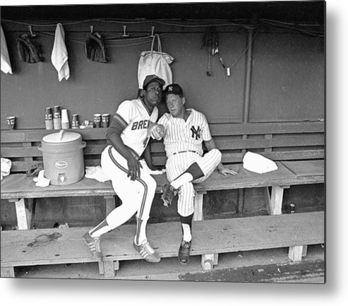 American League Baseball Metal Print featuring the photograph Mickey Mantle and Hank Aaron by Ronald C. Modra/sports Imagery
