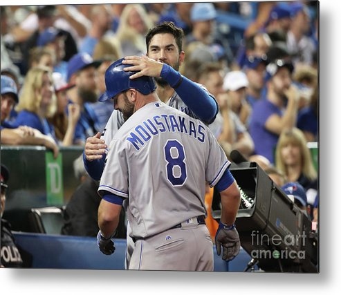 Three Quarter Length Metal Print featuring the photograph Mike Moustakas and Eric Hosmer by Tom Szczerbowski