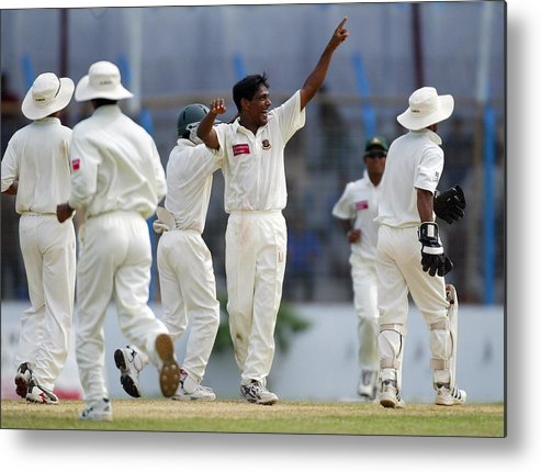 International Match Metal Print featuring the photograph Mohammad Rafique of Bangladesh celebrates by Clive Rose