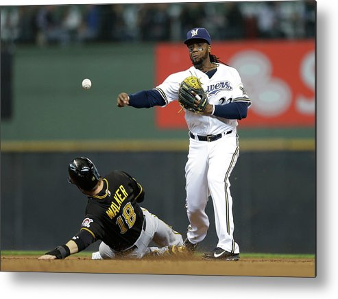 2nd Base Metal Print featuring the photograph Neil Walker and Rickie Weeks by Jeffrey Phelps