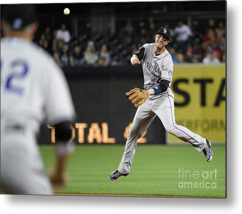 Second Inning Metal Print featuring the photograph Nick Hundley and Troy Tulowitzki by Denis Poroy