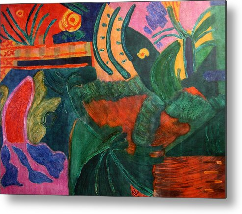 Abstract/landscape; Ink On Stretched Canvas Metal Print featuring the painting No.321. by Vijayan Kannampilly