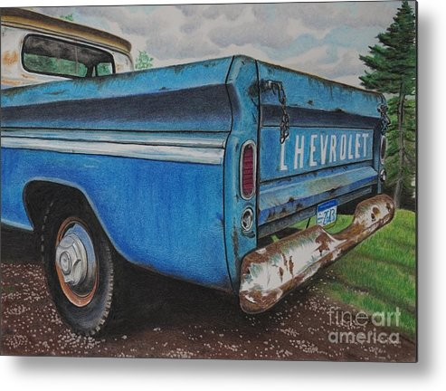 Wall Art Metal Print featuring the pastel Old Blue by Chris Naggy