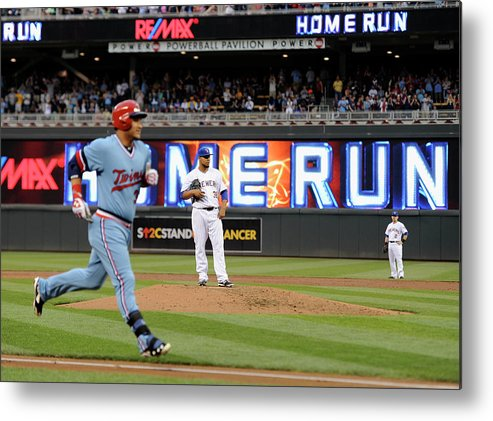 Oswaldo Arcia Metal Print featuring the photograph Oswaldo Arcia and Wily Peralta by Hannah Foslien