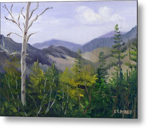 White Mountains Metal Print featuring the painting Pemigewasset Overlook Early Spring by Sharon E Allen