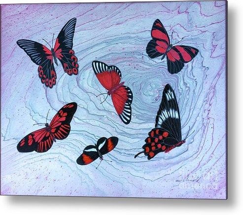 Butterflies Metal Print featuring the painting Red Wings by Lucy Arnold
