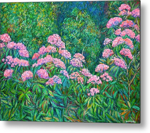 Floral Metal Print featuring the painting Rhododendron Near Black Rock Hill by Kendall Kessler