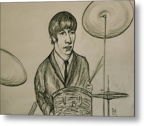 Beatles Metal Print featuring the drawing Ringo by Pete Maier