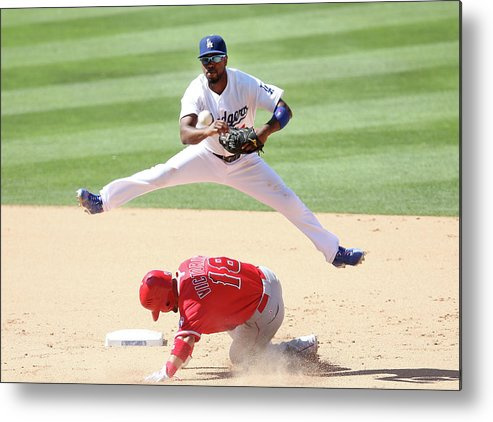 Double Play Metal Print featuring the photograph Shane Victorino and Jimmy Rollins by Stephen Dunn