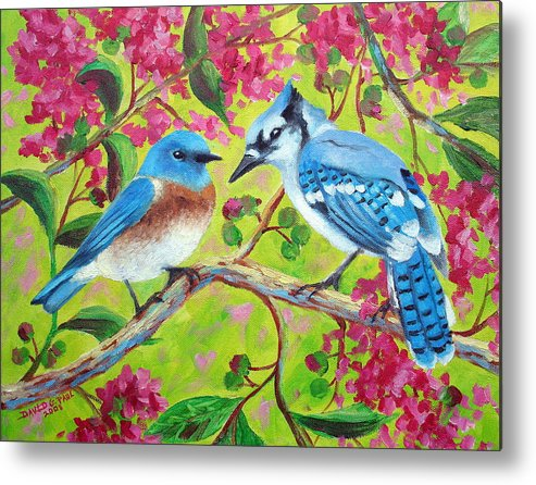 Birds Metal Print featuring the painting Sharing A Branch by David G Paul
