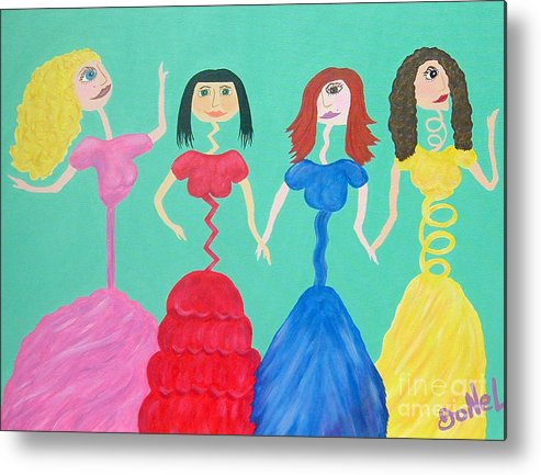 Model Metal Print featuring the painting Skinny Miss Minnies..Anorexic Models by JoNeL Art