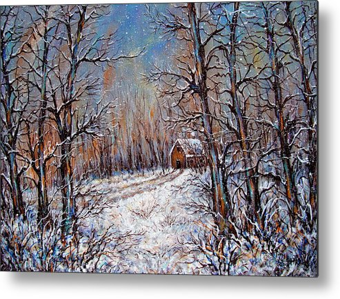 Landscape Metal Print featuring the painting Snowing in the Woods by Natalie Holland