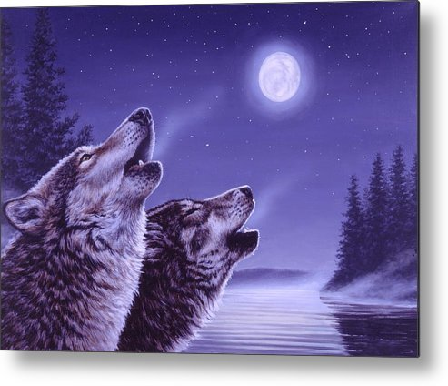 Wolf Metal Print featuring the painting Song of the North by Richard De Wolfe