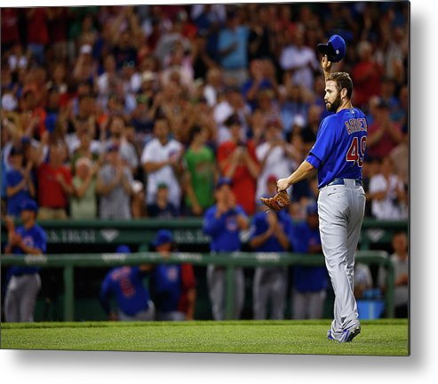 American League Baseball Metal Print featuring the photograph Stephen Drew and Jake Arrieta by Jared Wickerham