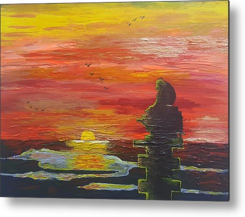 Sunset Baboon Metal Print featuring the painting Sunset Baboon by Quintus Curtius