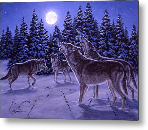 Wolf Metal Print featuring the painting The Howling by Richard De Wolfe