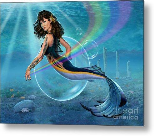 Mermaid Metal Print featuring the digital art The Mermadancer by Stu Shepherd