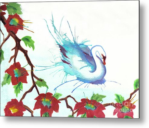 Swan Metal Print featuring the painting The Messanger by Angelique Bowman