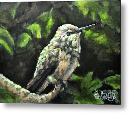Hummingbird Metal Print featuring the painting This Hummingbird Loves my Green Tree Maple by Eileen Fong