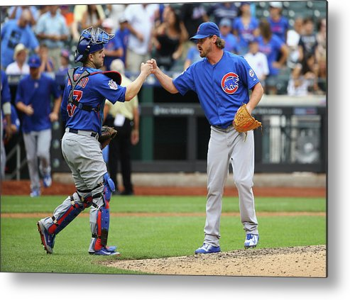 People Metal Print featuring the photograph Travis Wood and Miguel Montero by Al Bello