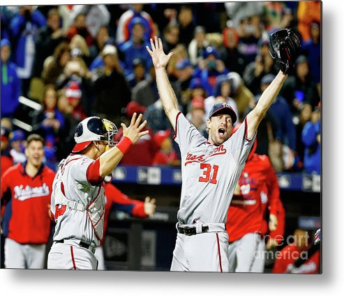 People Metal Print featuring the photograph Wilson Ramos and Max Scherzer by Al Bello