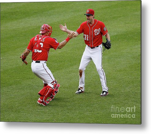 Baseball Catcher Metal Print featuring the photograph Wilson Ramos and Max Scherzer by Rob Carr