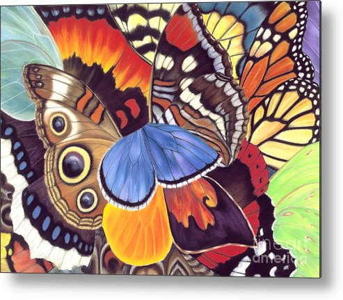 Butterflies Metal Print featuring the painting Wings Of California by Lucy Arnold