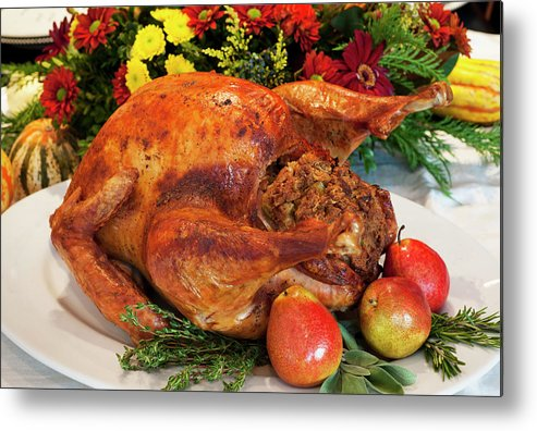 Stuffed Metal Print featuring the photograph Roast Turkey by Tetra Images