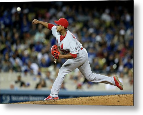St. Louis Cardinals Metal Print featuring the photograph St Louis Cardinals V Los Angeles Dodgers by Stephen Dunn