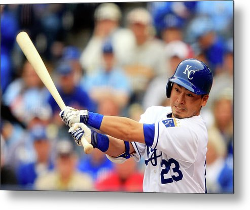 American League Baseball Metal Print featuring the photograph Baltimore Orioles V Kansas City Royals by Jamie Squire
