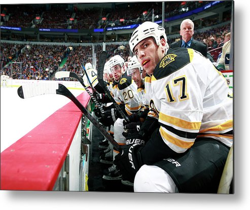 National Hockey League Metal Print featuring the photograph Boston Bruins V Vancouver Canucks by Jeff Vinnick