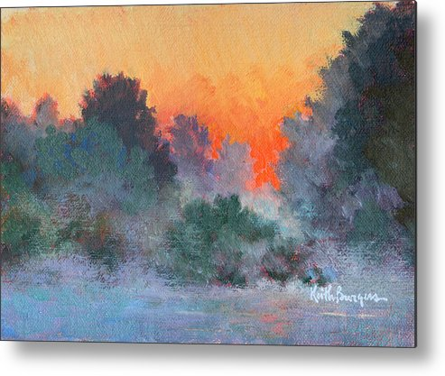 Impressionism Metal Print featuring the painting Dawn Mist by Keith Burgess
