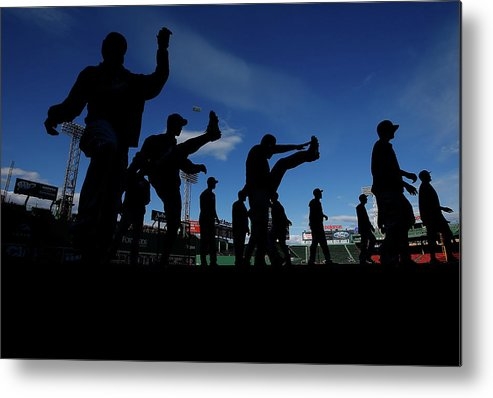 People Metal Print featuring the photograph Cincinnati Reds V Boston Red Sox by Jared Wickerham