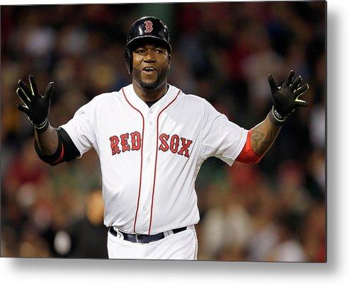 American League Baseball Metal Print featuring the photograph Toronto Blue Jays V Boston Red Sox by Jim Rogash