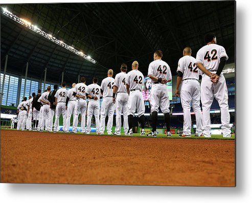 American League Baseball Metal Print featuring the photograph Washington Nationals V Miami Marlins by Mike Ehrmann