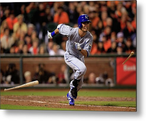 Double Play Metal Print featuring the photograph World Series - Kansas City Royals V San by Jamie Squire
