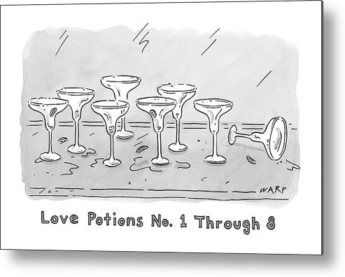 Love Potions No. 1 Thru 8 Metal Print featuring the drawing New Yorker March 10th, 2008 by Kim Warp