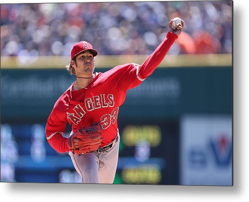 American League Baseball Metal Print featuring the photograph Los Angeles Angels Of Anaheim V Detroit by Leon Halip