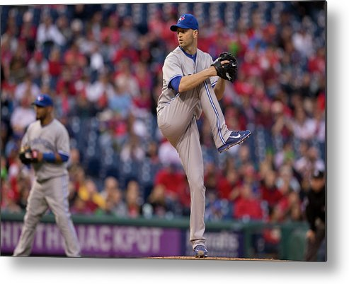 Citizens Bank Park Metal Print featuring the photograph Toronto Blue Jays V Philadelphia by Mitchell Leff