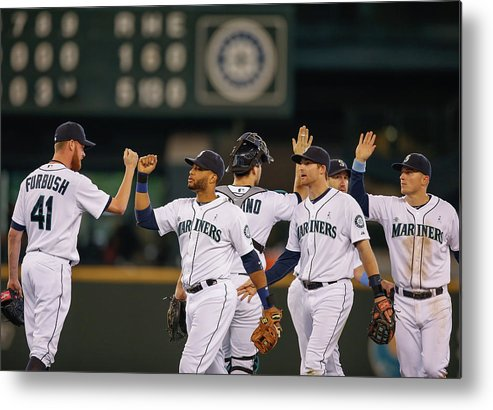 People Metal Print featuring the photograph Texas Rangers V Seattle Mariners by Otto Greule Jr
