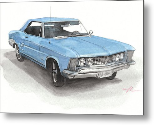 <a Href=http://miketheuer.com Target =_blank>www.miketheuer.com</a> Metal Print featuring the drawing 63 Buick Riviera Watercolor Portrait by Mike Theuer