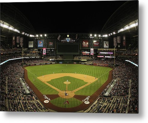 Motion Metal Print featuring the photograph San Francisco Giants V Arizona by Christian Petersen