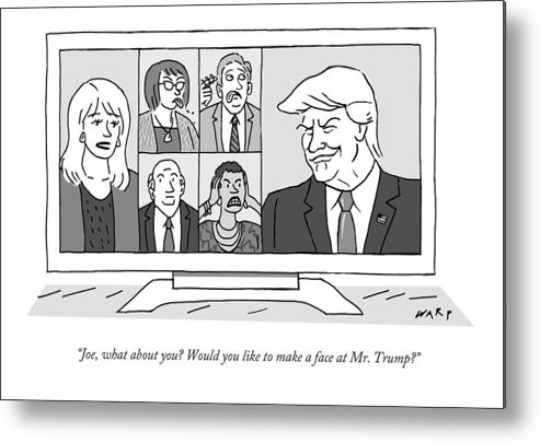 Newscasters Metal Print featuring the drawing A Screen Split Between Trump And Five Pundits by Kim Warp