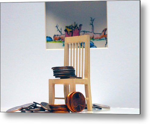 Coins On A Chair Metal Print featuring the photograph Chump Change by Leon Hollins III