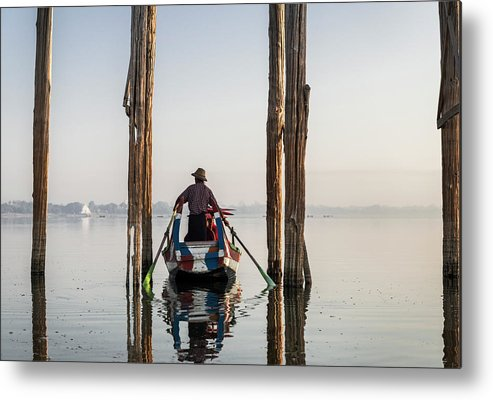 Three Quarter Length Metal Print featuring the photograph Boat Passing Underneath U Bein Bridge by Martin Puddy