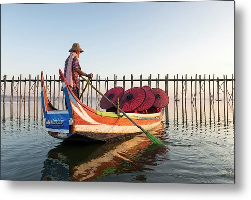 Young Men Metal Print featuring the photograph Buddhist Monks And Sightseeing Boat by Martin Puddy